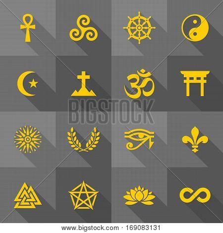 Vector Flat Icon Set - Religious Symbols