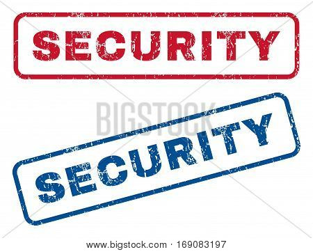 Security text rubber seal stamp watermarks. Vector style is blue and red ink tag inside rounded rectangular banner. Grunge design and scratched texture. Blue and red signs.