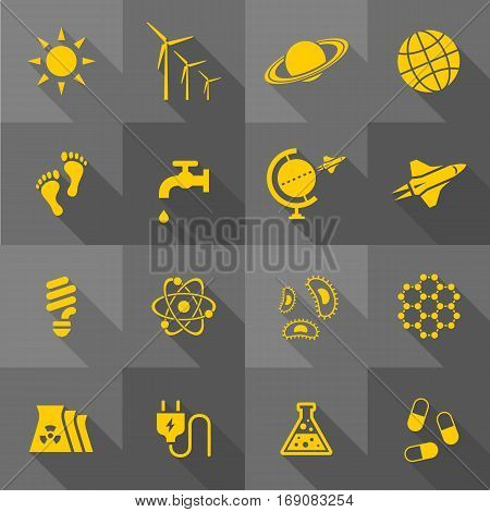 Vector Flat Icon Set - Science and Eco
