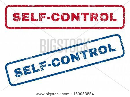 Self-Control text rubber seal stamp watermarks. Vector style is blue and red ink caption inside rounded rectangular banner. Grunge design and scratched texture. Blue and red stickers.