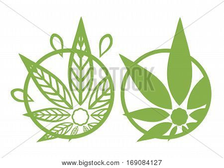 Cannabis green silhouette logo. Hemp asymmetrical icons. Sign T-shirts for design creating corporate identity and promotional products.