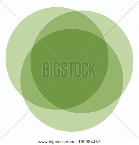Trendy green round background. Greenery color of superposed circles.