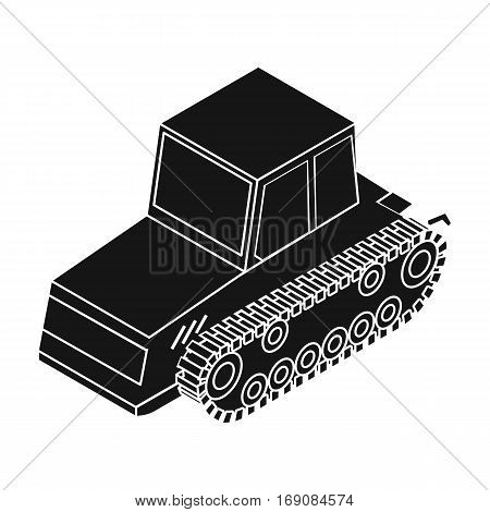Tracked tractor icon in black design isolated on white background. Transportation symbol stock vector illustration.
