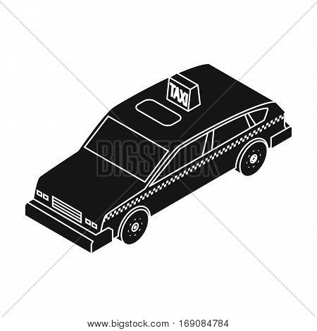 Taxi car icon in black design isolated on white background. Transportation symbol stock vector illustration.