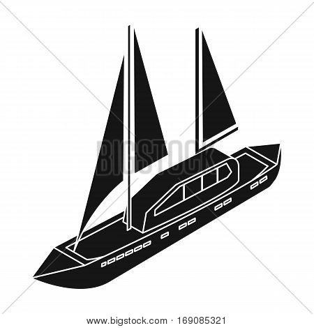 Yacht icon in black design isolated on white background. Transportation symbol stock vector illustration.