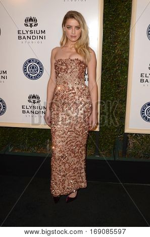 LOS ANGELES - JAN 7:  Amber Heard at the Art of Elysium 10th Annual Black Tie Heaven Gala at Red Studios on January 7, 2017 in Los Angeles, CA