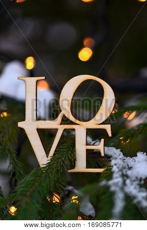 Wooden Word Love On Branches