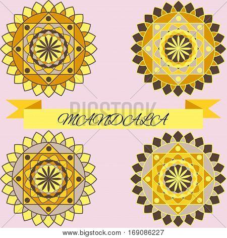 beautiful pattern, light magenta mandala layout vector illustration