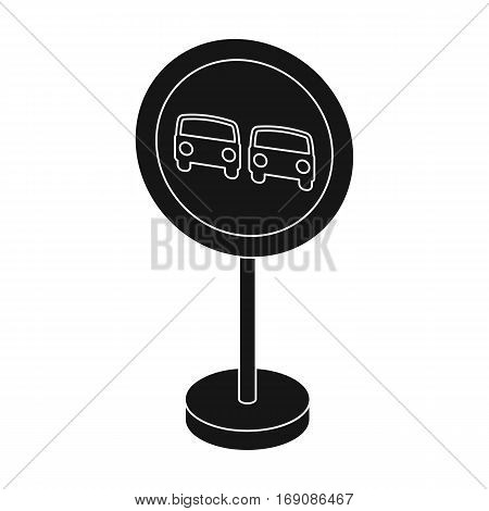 Prohibitory road sign icon in monochrome design isolated on white background. Road signs symbol stock vector illustration.