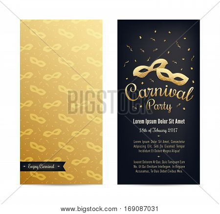 Carnival two sides poster flyer invitation design. Masquerade tickets with golden mask seamless pattern lettering and emblem. Carnival masks with serpentine confetti. Place for text. Vector.