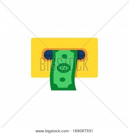 ATM Cashout icon. Payment through ATM.  Flat style vector illustration.