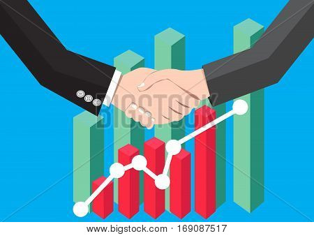 Businessman handshaking Deal Partnership and Graph background