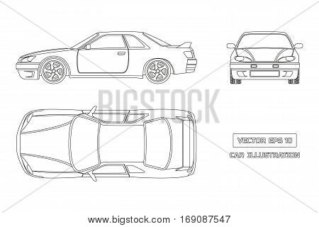 Contour drawing of the car on a white background. Top front and side view. The vehicle in outline style. Vector illustration