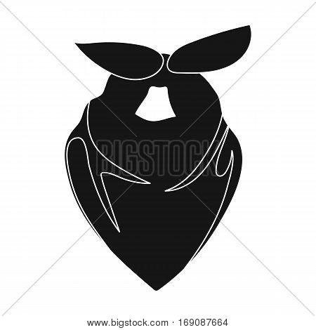 Cowboy bandana icon in monochrome design isolated on white background. Rodeo symbol stock vector illustration.