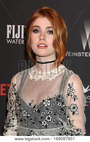 LOS ANGELES - JAN 8:  Katherine McNamara at the Weinstein And Netflix Golden Globes After Party at Beverly Hilton Hotel Adjacent on January 8, 2017 in Beverly Hills, CA