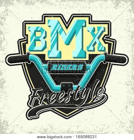Vintage t-shirt graphic design,  grange print stamp, bmx freestyle typography emblem,  creative sports logo, Vector