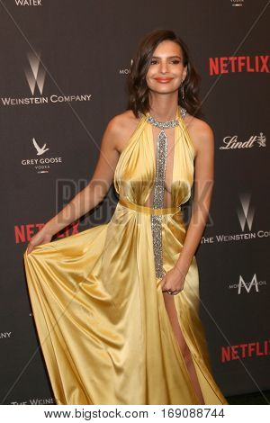 LOS ANGELES - JAN 8:  Emily Ratajkowski at the Weinstein And Netflix Golden Globes After Party at Beverly Hilton Hotel Adjacent on January 8, 2017 in Beverly Hills, CA