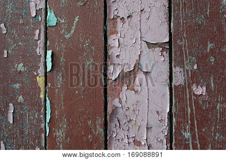 Texture background of old wooden texture planks with peeling texture paint -texture backgound of wooden texture surface. Texture wooden planks with chipped old paint