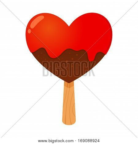 Vector stock of a heart shaped chocolate ice cream with a stick