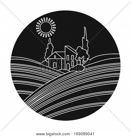 Lodge with vineyards icon in black design isolated on white background. Wine production symbol stock vector illustration.