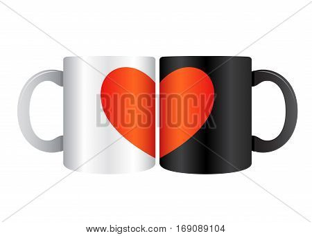 Vector stock of two drinking mug closed each other forming a heart symbol