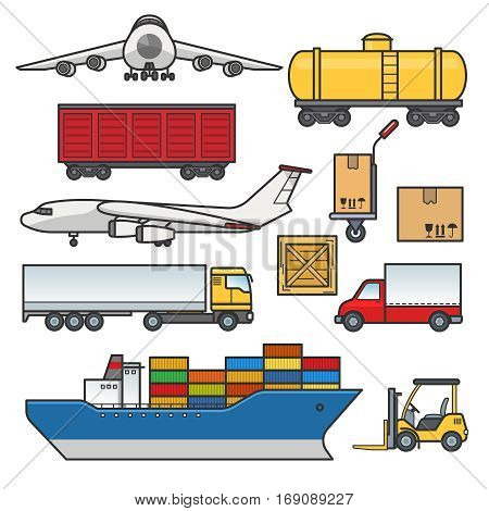 Freight transport icons set. Cargo and delivery, logistics flat outline elements.