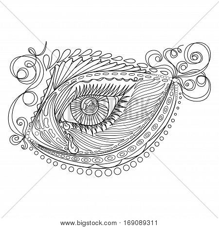 Zen tangle stylized abstract fish and eye isolated on white background. Hand drawn sketch for adult antistress coloring page T-shirt emblem logo tattoo with doodle zen tangle floral elements.