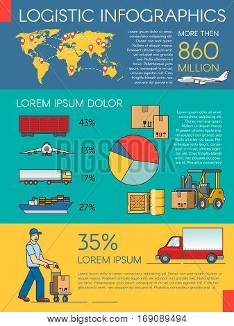 Logistics infographic elements and transportation concept of train, cargo ship, air export.