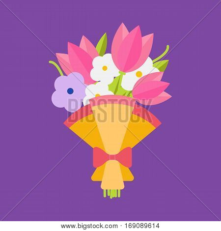 Wedding bouquet flowers vector illustration. Wedding bouquet flowers. Beautiful wedding congratulation bouquet isolated on background. Wedding bouquet flat style. Wedding flowers isolated vector