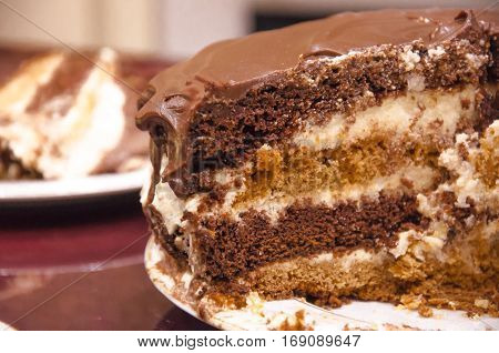 Sliced layered chocolate cake with chocolate icing on a plate
