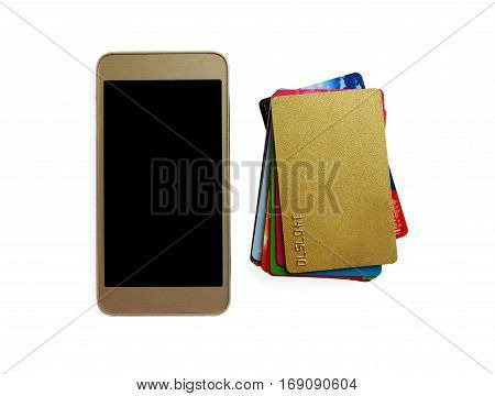 stack of bright colorful discount plastic cards and mobile phone isolated on white. background with copy space.
