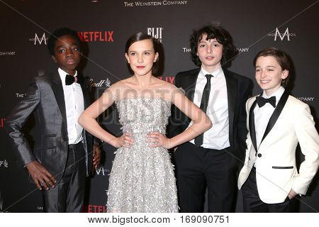 LOS ANGELES - JAN 8:  Caleb McLaughlin, Millie Bobby Brown, Finn Wolfhard, Noah Schnapp at the Weinstein Golden Globes After Party at Beverly Hilton Hotel on January 8, 2017 in Beverly Hills, CA
