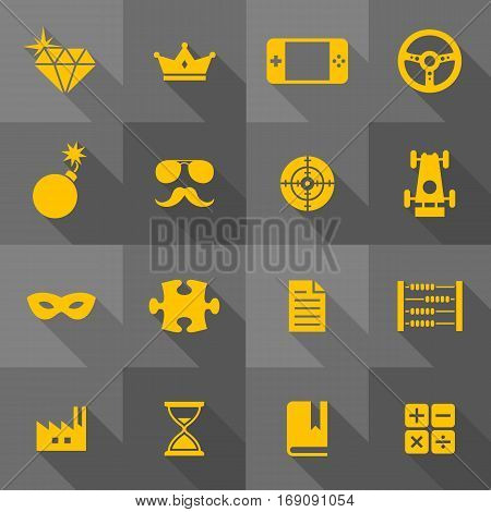 Vector Flat Icon Set - Objects Signs