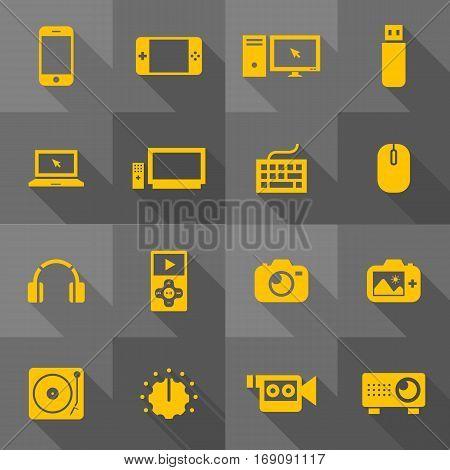 Vector Flat Icon Set - Gadget Illustration