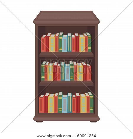 Bookcase with books icon in cartoon design isolated on white background. Library and bookstore symbol stock vector illustration.