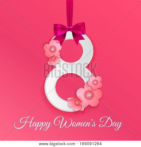 8 March, International Women's Day background with silk ribbon and bow, paper number 8 and origami flowers with shadow.  Greeting card for women or mother's day. Vector illustration