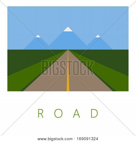 Vector Minimal Poster: Retro Road Illustration Background