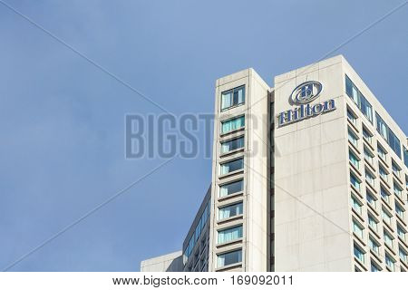 QUEBEC, CANADA - DECEMBER 27, 2016: Picture of the Hilton logo on Quebec City Hilton hotel
