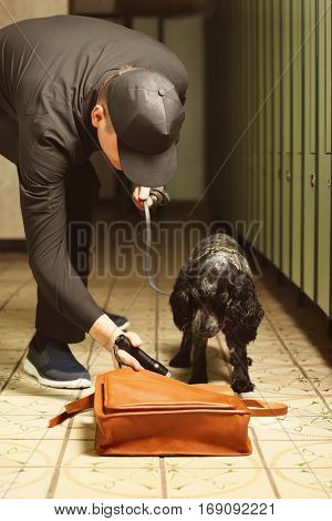 Dog looking for drugs in luggage storage