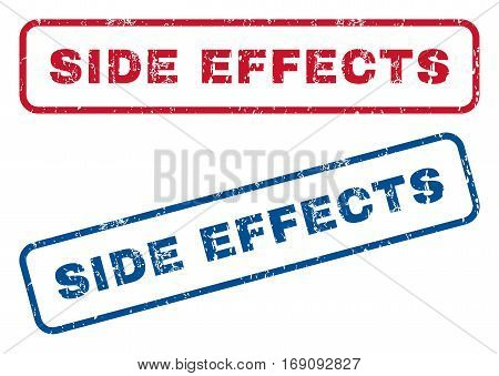 Side Effects text rubber seal stamp watermarks. Vector style is blue and red ink caption inside rounded rectangular banner. Grunge design and unclean texture. Blue and red emblems.