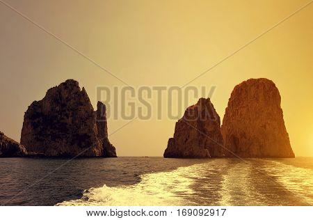 Faraglioni Cliffs in island Capri - Italy, Europe