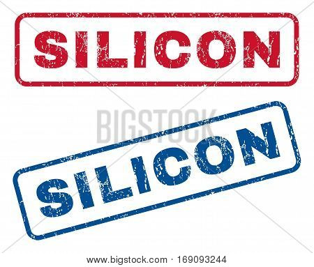 Silicon text rubber seal stamp watermarks. Vector style is blue and red ink tag inside rounded rectangular banner. Grunge design and unclean texture. Blue and red emblems.