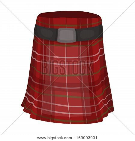 Kilt icon in cartoon design isolated on white background. Scotland country symbol stock vector illustration.