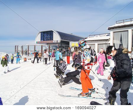 Sochi, Russia - 1 January, Vacationers people in the mountains, 1 January, 2017. Winter mountain ski resort Rosa Khutor.