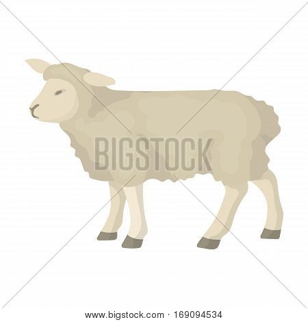 Sheep icon in cartoon design isolated on white background. Scotland country symbol stock vector illustration.