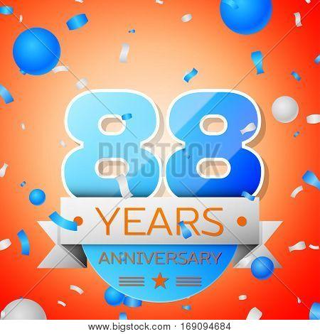 Eighty eight years anniversary celebration on orange background. Anniversary ribbon