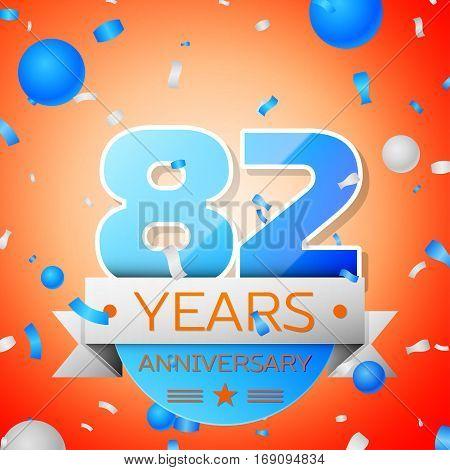 Eighty two years anniversary celebration on orange background. Anniversary ribbon