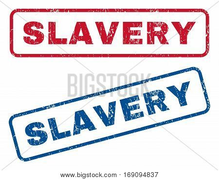 Slavery text rubber seal stamp watermarks. Vector style is blue and red ink tag inside rounded rectangular shape. Grunge design and unclean texture. Blue and red emblems.