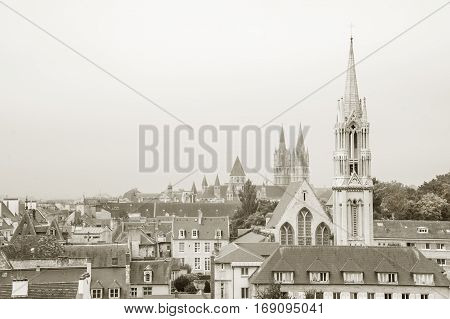 View of downtown Caen with church of Saint-Pierre and Abbey of Saint-Etienne, France