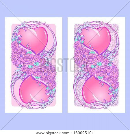 Roses hearts water swirls and snakes arranged in an intricate pattern. St Valentine's day festive design isolated on white background. Tattoo or wedding decoration vertical banners set. EPS 10 vector